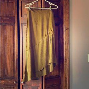 Free People silk skirt, moss green